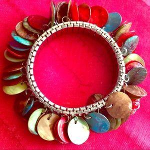 Jewelry - EUC Vintage Multicolored Shell Disc Bracelet